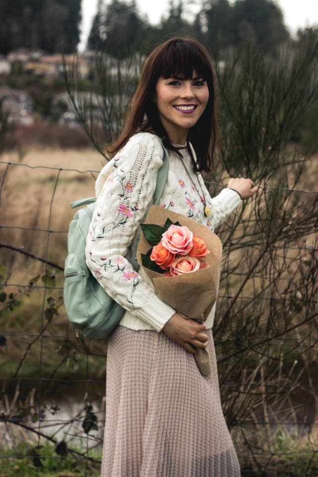 Pleasant Flowers Embroidered Cable Knit Sweater in Ivory, Chic Wish, Pink Pleated Skirt, Club Monaco, BAGGU leather back pack, winter fashion, vintage, style, floral, embroidery, pastel, romance