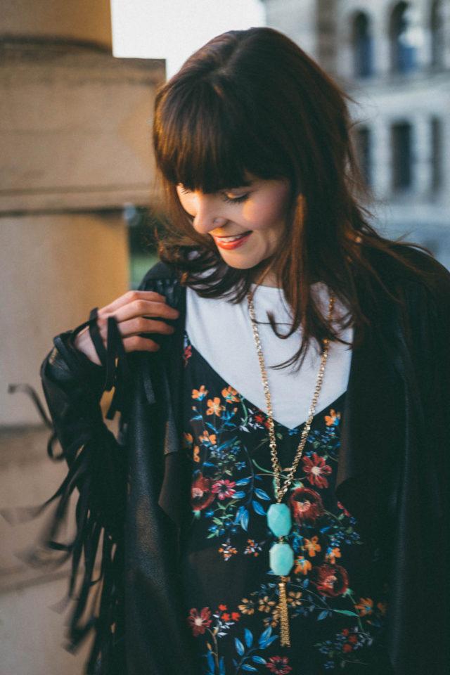 DESIGN LAB LORD & TAYLOR Printed Slip Dress with T-Shirt, California Moonrise, Fringe Jacket, Spring Fashion, Vintage,