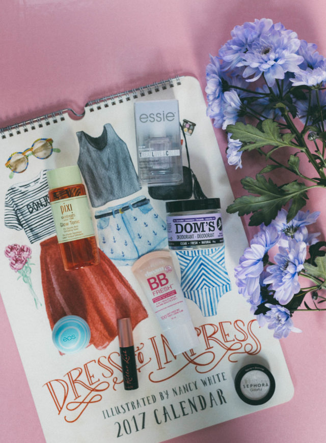 Dom's Deodorant, Dress to Impress - 2017 Poster Calendar, Roller Lash Curling & Lifting Mascara, Benefit Cosmetics, Essie, Treat, Love, Color, Maybelline Dream Fresh BB Cream, Pixi Glow Tonic, January Favourites