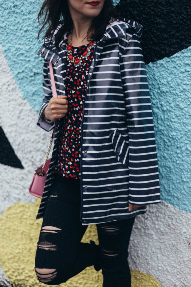 Old Navy. Marshall's, Kate Spade New York, BCBG, Valentine's Day, Heart print, Striped rain coat, distressed black jeans