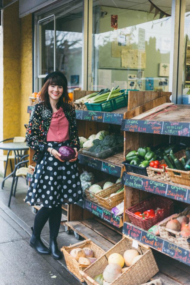 Marshall's, Chic Wish, Cynthia Rowley, Floral bomber jacket, polka dot skirt, peter pan collar, beret, spring fashion, vintage