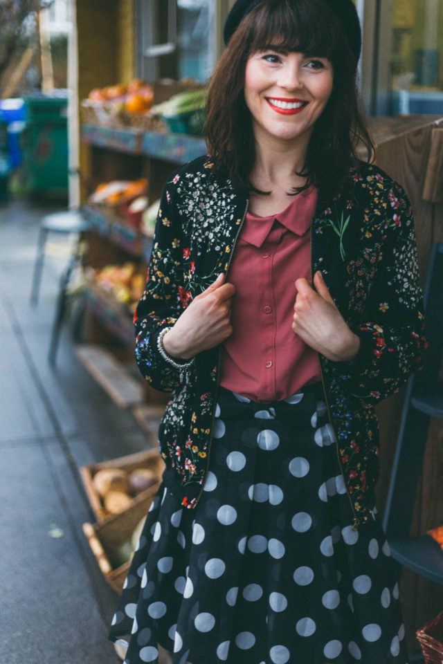 Marshall's, Chic Wish, Cynthia Rowley, Floral bomber jacket, polka dot skirt, peter pan collar, beret, spring fashion, vintage