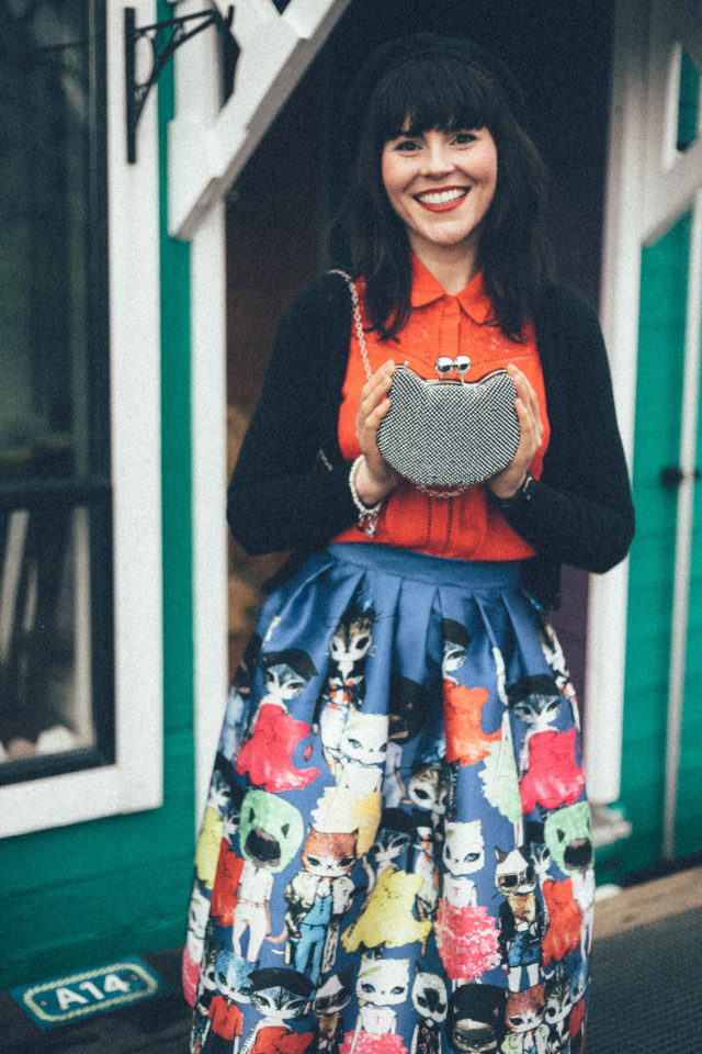 Pom Pom Boutique Victoria, Trounce Alley, Cat lover, Beret, Victoria, Cat Disco Bag, Cat printed skirt