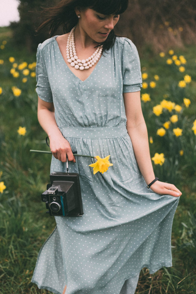 H&M, Spring Fashion, Vintage, Mint Green, Polka Dot Dress, Daffodils, Beacon Hill Park