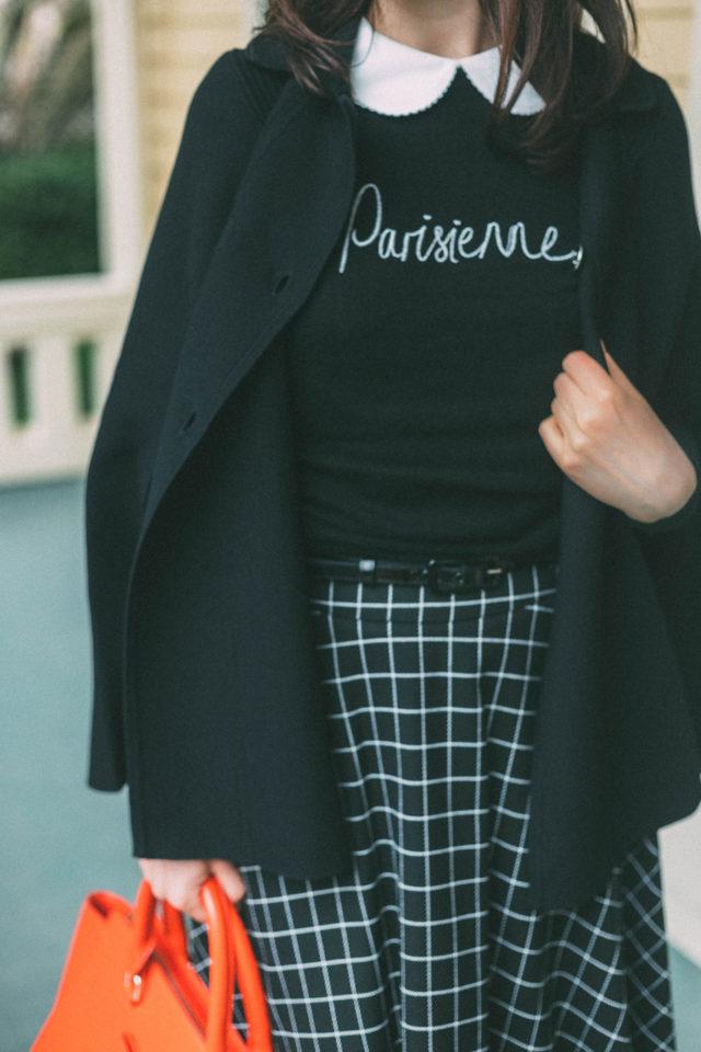 PARISIENNE JUMPER, Review Austrailia, VIENNA CHECK SKIRT, SERGEANT PEPPER CAPE, SERAPHINA BAG, Parisian, Beret, Vintage fashion, Parisian, French
