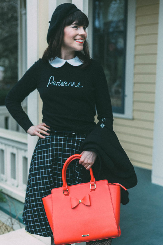 PARISIENNE JUMPER, Review Austrailia, VIENNA CHECK SKIRT, SERGEANT PEPPER CAPE, SERAPHINA BAG, Parisian, Beret, Vintage fashion, Parisian, French