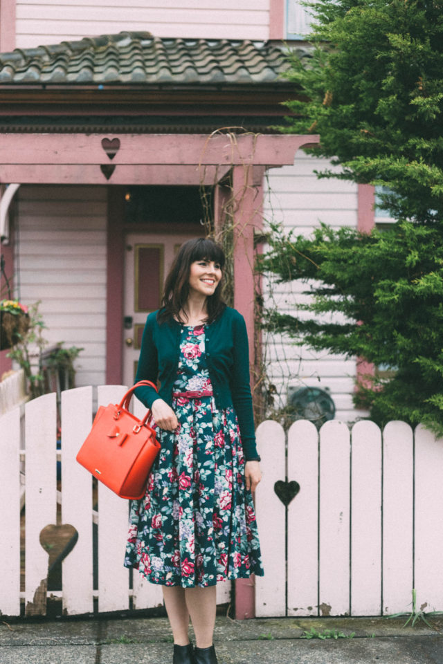 Review Australia, DEVINE FLORAL DRESS, MAGGIE LONG SLEEVE CARDI, Spring Fashion, Vintage, Floral Dress, Cardigan, SERAPHINA BAG