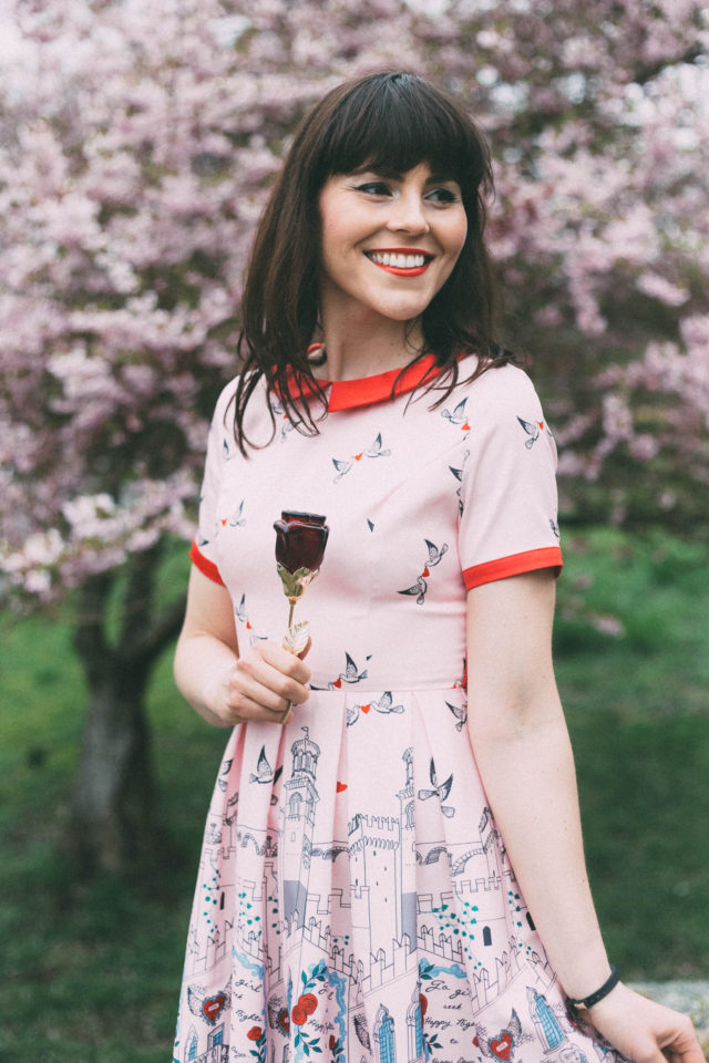 Linda Bop, Vintage inspired dresses, unique and retro clothing, 'Celestia' Pink Verona Print Swing Dress, Beauty and The Beast