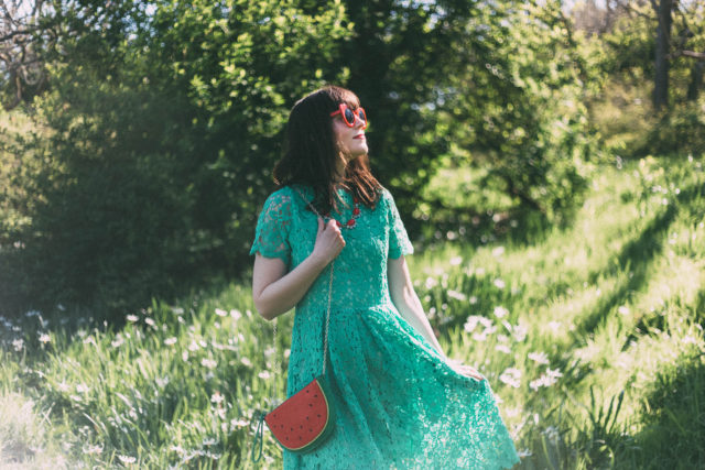 Floral Holiday Crochet Dress in Green, Watermelon bag, Chic Wish, Red cat eye sunglasses, spring fashion, vintage