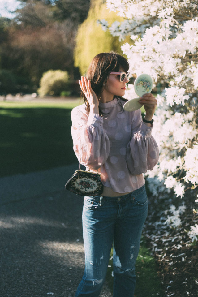 Levi's 501c, Chic Wish, Jolly Pink Polka Dots Top With Balloon Sleeves, Pink Cat Eye Sunglasses, Vintage, Spring, Vintage compact