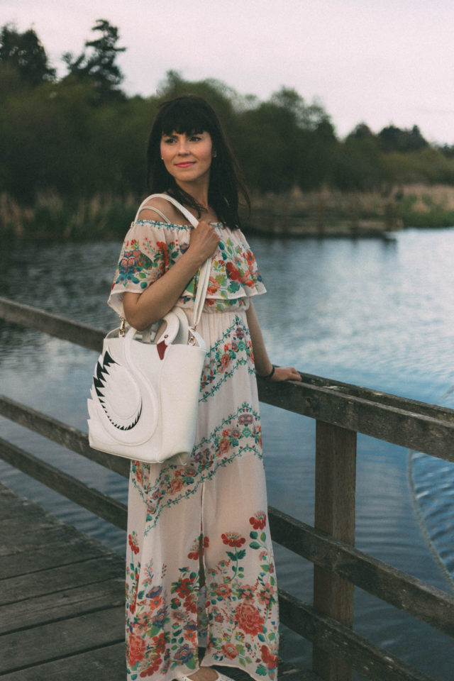 Pom Pom Boutique, Victoria, Floral Maxi Dress, Swan Bag, Vintage, Unique, Spring, Fashion