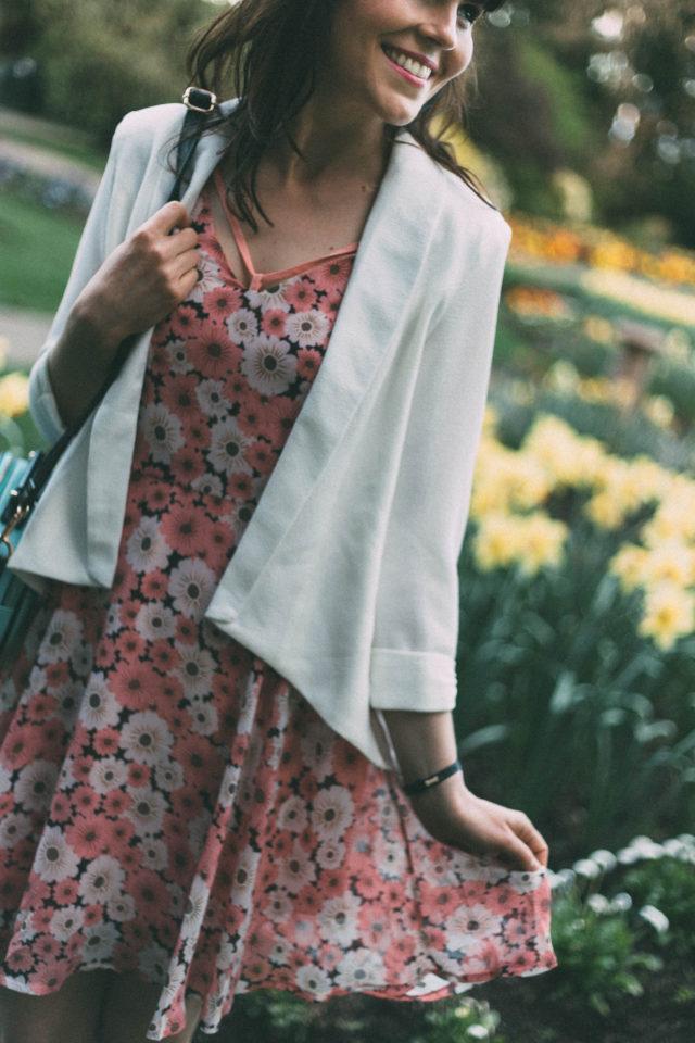 Pom Pom Boutique, Victoria, Vintage, Fashion, Floral Dress, Cat bag, cat silhouette, white blazer, spring
