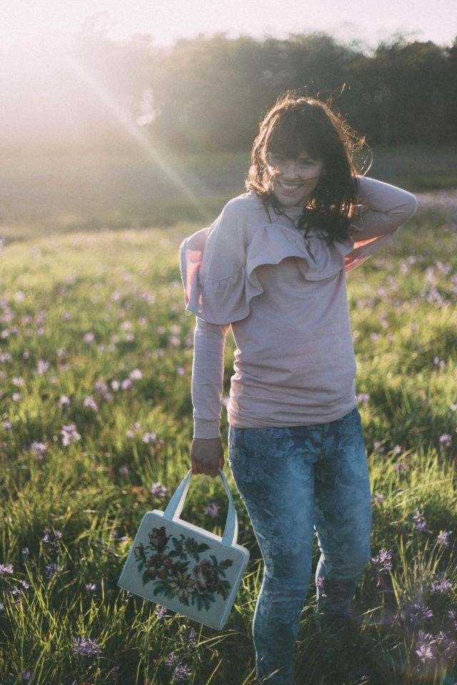 DESIGN LAB LORD & TAYLOR Ruffle Yoke Sweatshirt, I.N.C INTERNATIONAL CONCEPTS Jacquard Floral Skinny Jeans, Cat Necklace, Hudson's Bay, Spring Fashion,