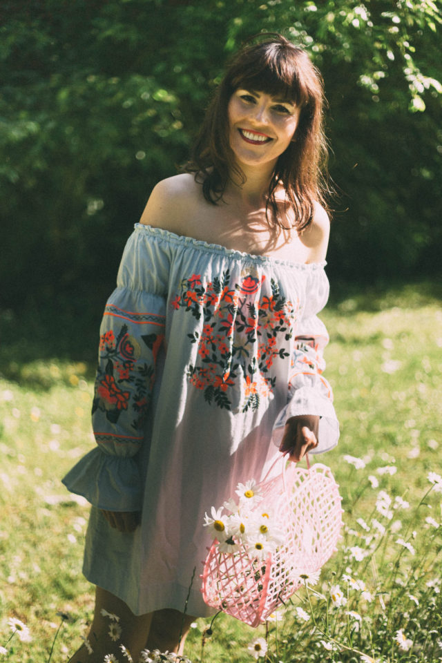 FREE PEOPLE Fleur Du Jour Mini Dress, Bohemian, Sun jellies, Vintage, retro, Peasant Dress, Floral Embroidery,