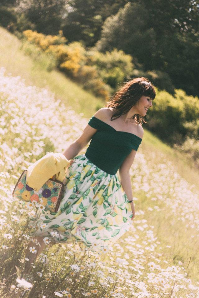 Chic Wish, Lemon Print, Midi Skirt, straw bag, vintage, summer, fashion