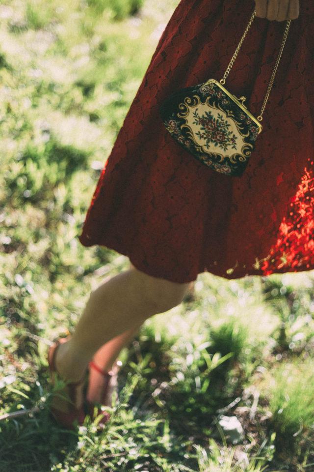Red floral lace dress, Rickis, vintage, dress, summer, floral