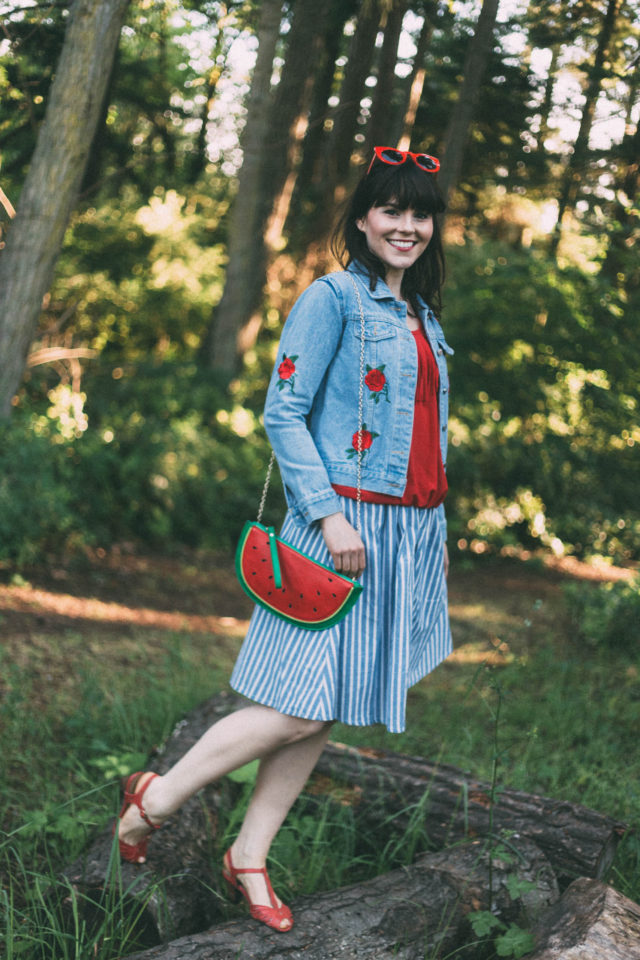 Vertical Striped Single Breasted Circle Skirt, SheInside, Rose Embroidery Single Breasted Denim Jacket, watermelon bag, denim, vintage, summer, red
