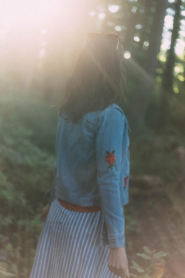 Vertical Striped Single Breasted Circle Skirt, SheInside, Rose Embroidery Single Breasted Denim Jacket, watermelon bag, denim, vintage, summer, red