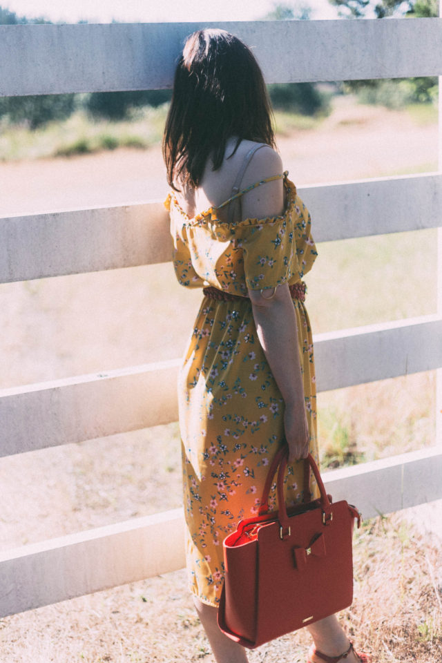 Yellow Floral Dress, Marshall's, red braided belt, Review Australia, Red purse, vintage, summer fashion