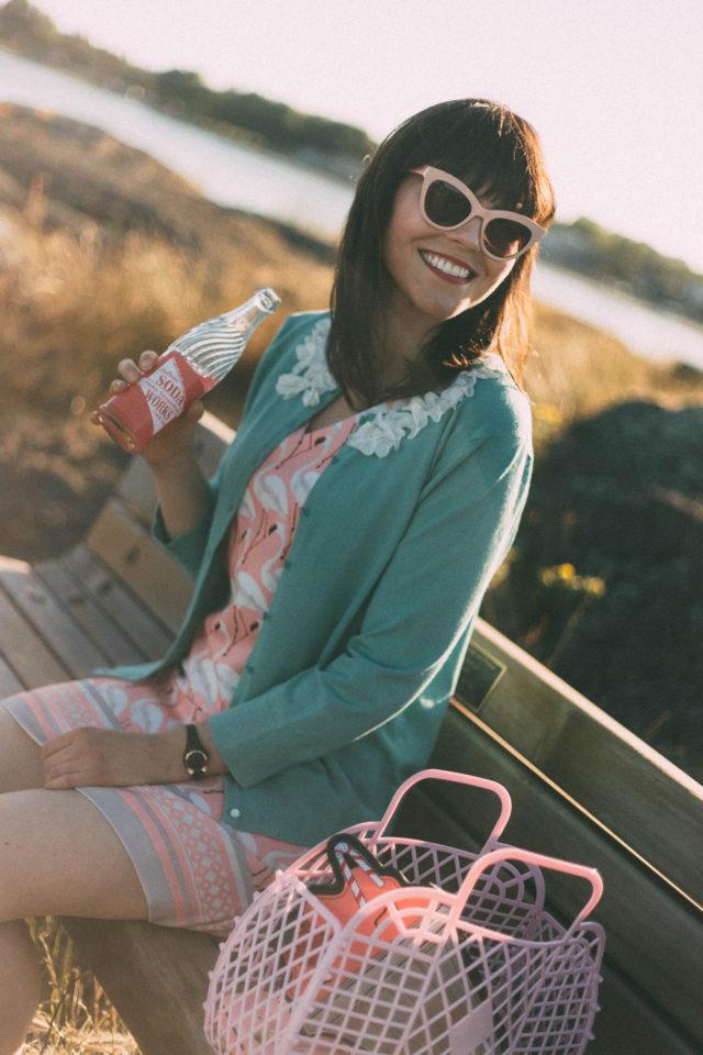 Marshall's, Flamingo Dress, summer, fashion, floral appliqué, teal cardigan, sun jellies, pink cat eye, soda pop