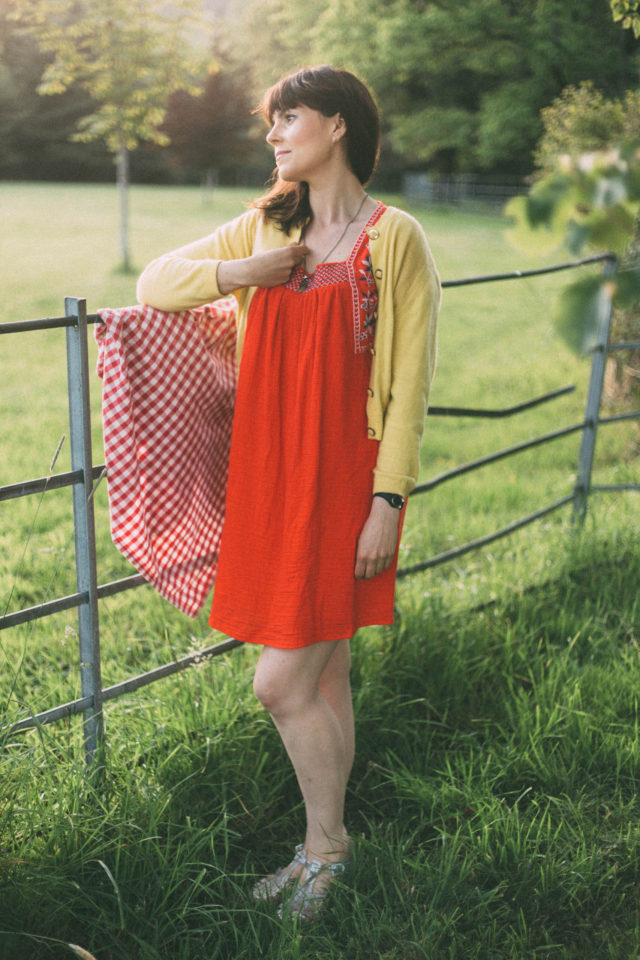 Embroidered-Trim Dress for Women, Old Navy, Summer, Dress, picnic, vintage, retro, cardigan, yellow