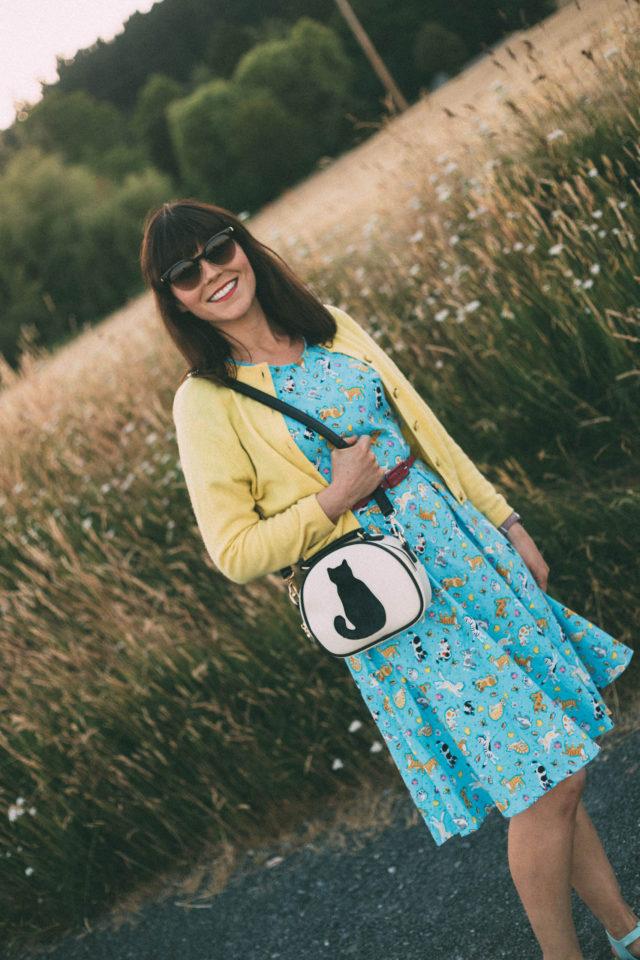 Smart Buy Glasses, Versace, Sunglasses, Vintage, Pom Pom Boutique, Cat Dress, Sun Jellies, summer Dress, Cat Bag