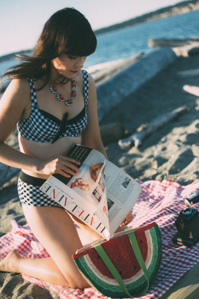 Swimsuits for all, Gingham, Bikini, Retro, vintage, summer, beach, picnic, watermelon, coverup, pinup, fashion,