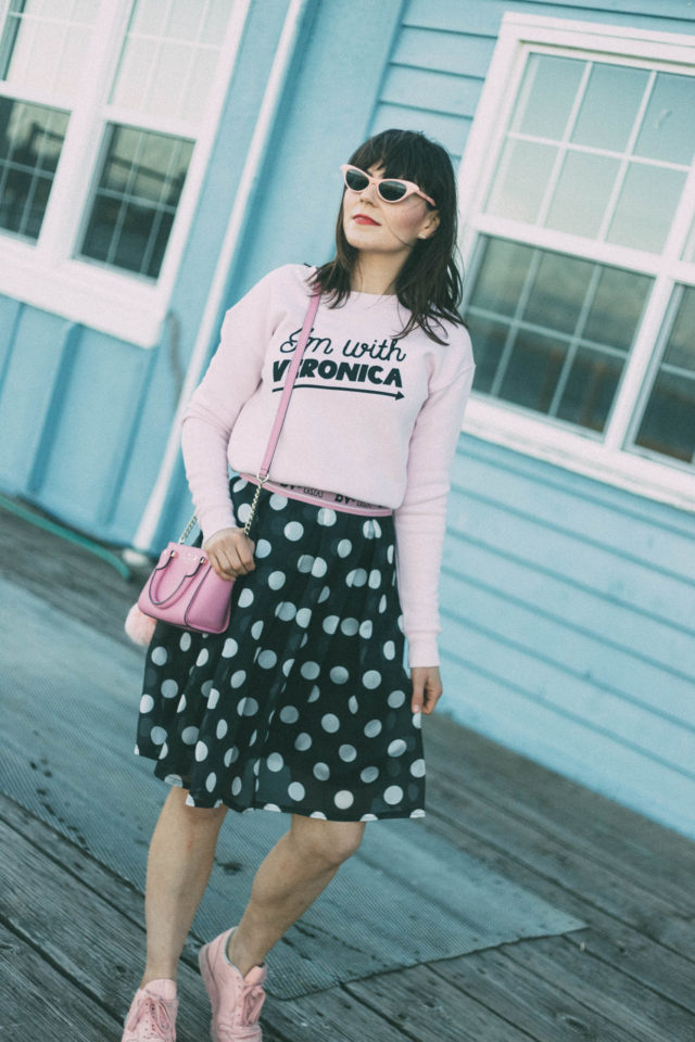 Betty and Veronica, Chic Wish, Polka Dot Skirt, Vintage, Retro, Kate Spade, Reebok Classic