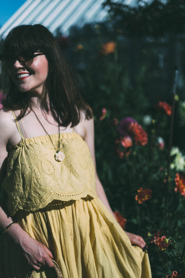 Tickle Me Picnic Embroidery Cotton Maxi Dress, Chic Wish, Versace, vintage, summer, dress, vintage floral straw bag, yellow dress,