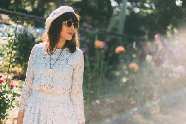 Beau xoxo, Marie Antoinette, Beret, Sunday Somewhere, Parisian, Sunglasses, vintage, cross stitch, Chic Wish, Daydreamer Whole Lace Top and Skater Skirt Set in Blue