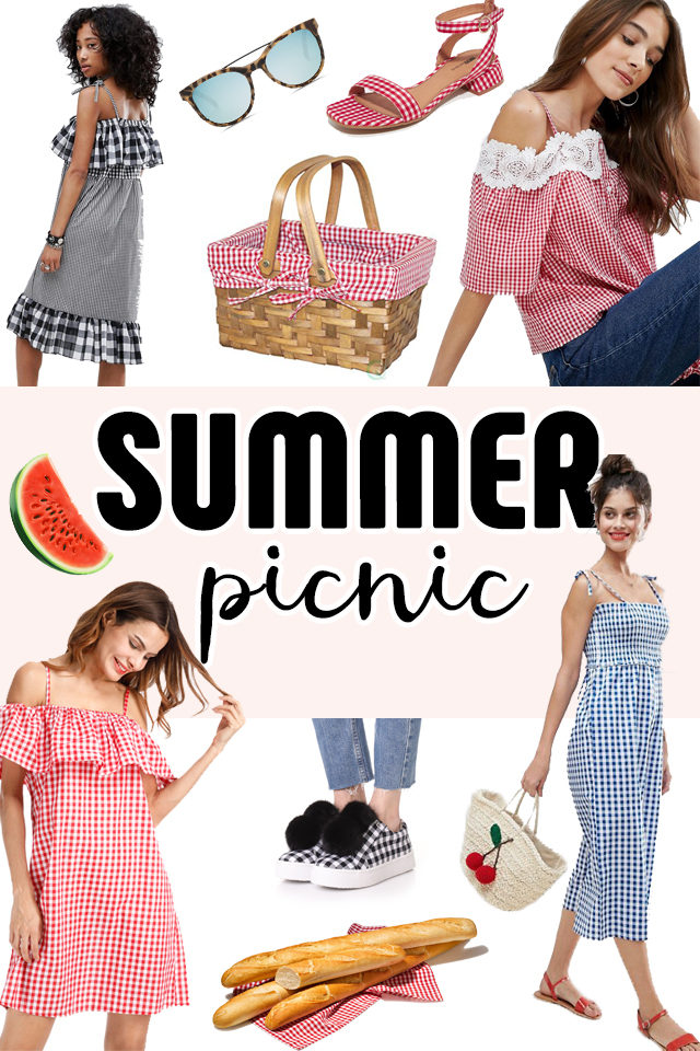 Summer Picnic, vintage, gingham, cherries, picnic basket, retro