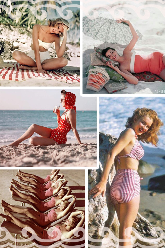 Vintage Swimwear, bikini, 1950s, pinup, style, retro, summer, beach