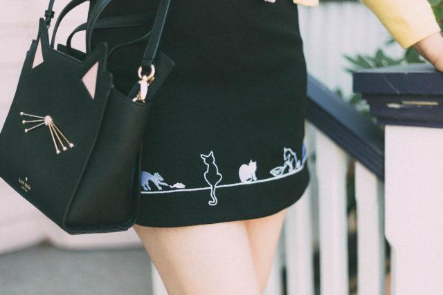Adorable Kitten Embroidered Skirt in Black, Pink Cat Eye Sunglasses, Kate Spade, Cat Bag, Vintage, Yellow cardigan, Polka dot blouse, summer, retro, fashion, style,