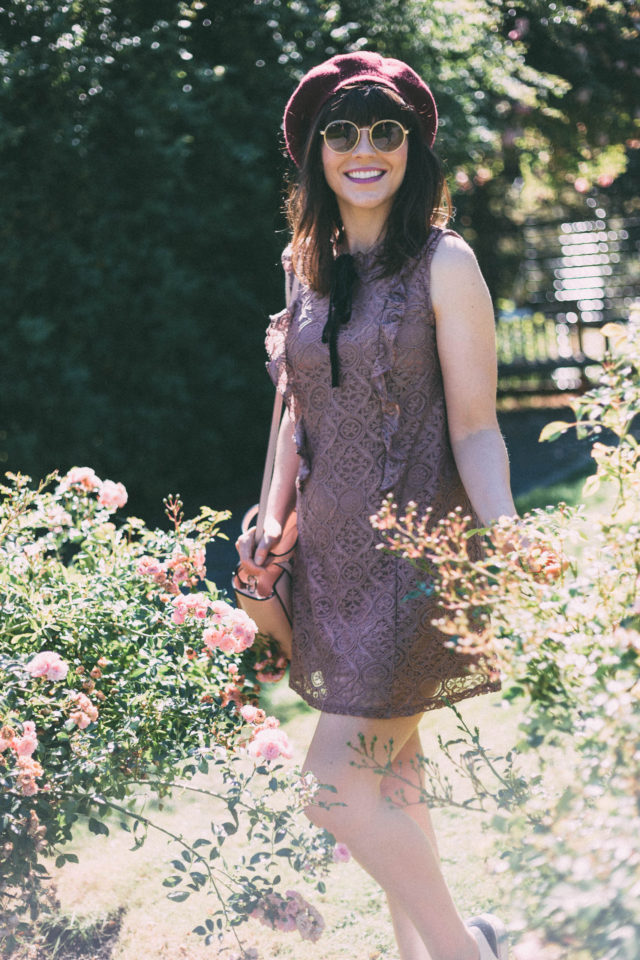 Vintage lace dress, bow, beret, Marshall's, Le Chateau, pink, Sunday Somewhere, vintage