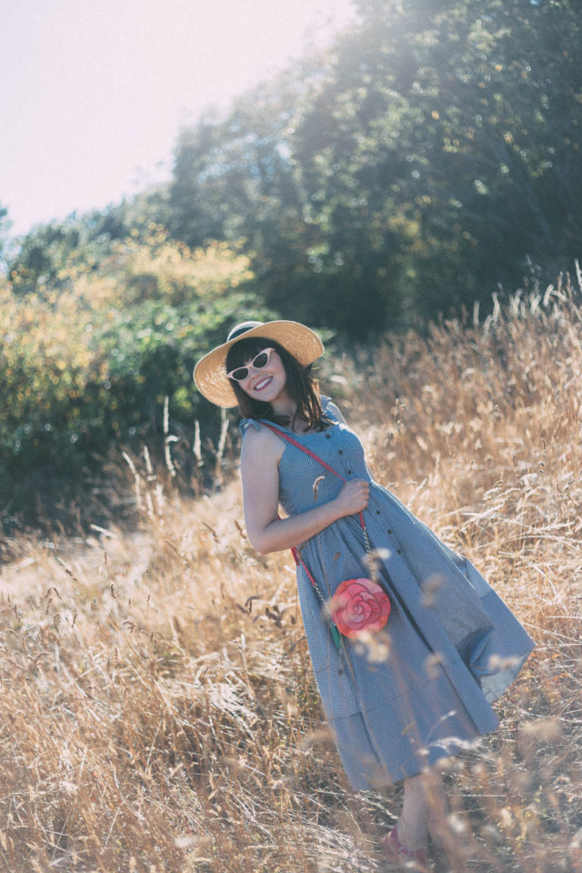 Dashing Darling Cami Dress in Black Gingham, Chic Wish, Oversized Straw Hat With Bow Band, Kate Spade, Floral bag, Gingham Dress, Pink Cat Eye Sunglasses, vintage, summer,