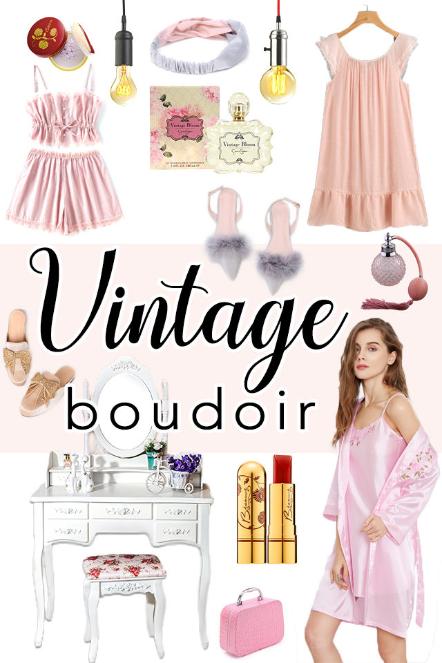 vintage boudoir, Old Hollywood, Glamorous, lingerie, vintage, retro, dressing table, perfume, shabby chic, pyjamas, loungewear