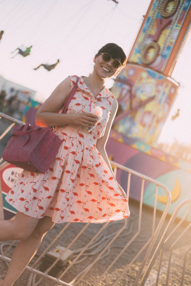 Flamingo Fun Flare Print Dress, Chic Wish, Sunday Somewhere, Lila's Beauty Bag, Cute Pink Bow Handbag, Carnival, Fair, Summer, Vintage, Style, Dress, Fashion, Retro, Theme Park,