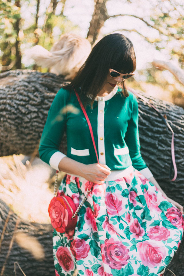 Mia Floral Full Skirt, 50s Style Vintage Occasion Skirt, Joanie Clothing, floral rose, midi skirt, Helena Contrast Trim Cardigan, Emerald Green, Vintage style, knit, Women's vintage style clothing and accessories