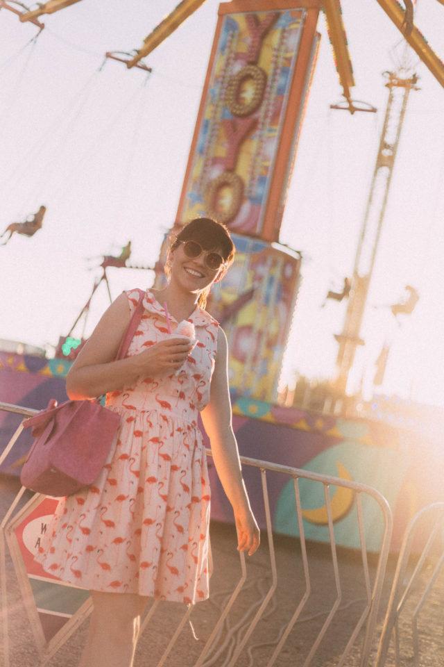 Flamingo Fun Flare Print Dress, Chic Wish, Sunday Somewhere, Lila's Beauty Bag, Cute Pink Bow Handbag, Carnival, Fair, Summer, Vintage, Style, Dress, Fashion, Retro, Theme Park,