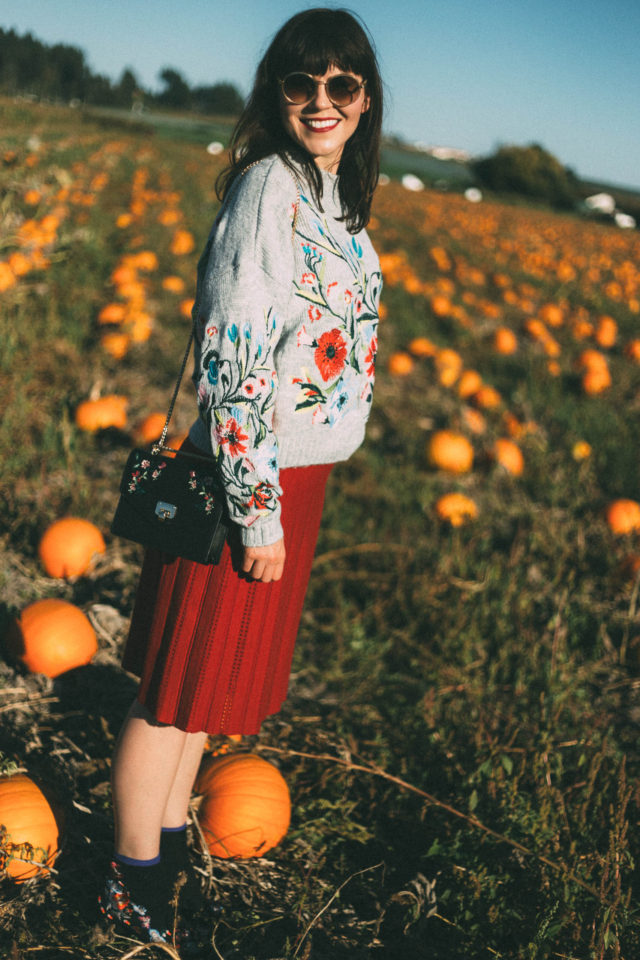 Surrounded by Flowers Embroidered Sweater in Grey, Chicwish, Nifty Eyelet Knitted A-line Skirt in Red, pumpkins, fall, vintage, fashion, autumn, style,