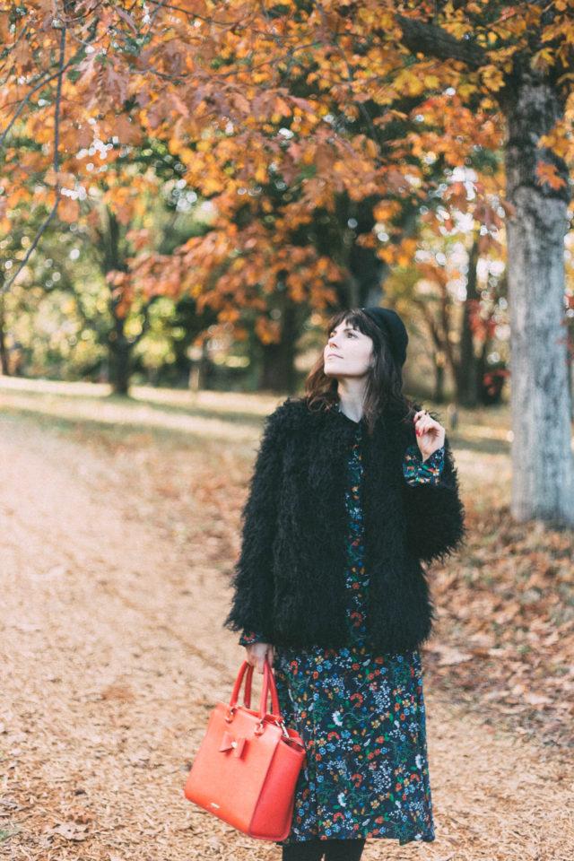 H&M Ruffle-trimmed Dress, H&M Faux Fur Jacket , fall, retro, vintage, floral, beret, fall,