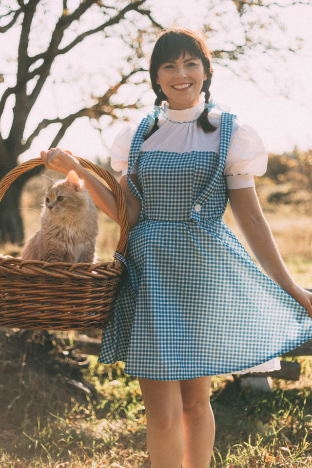 Wizard of Oz, Dorthy, Costume, Halloween, vintage, toto, idea, DIY, vintage, retro, costume, cat costume, idea