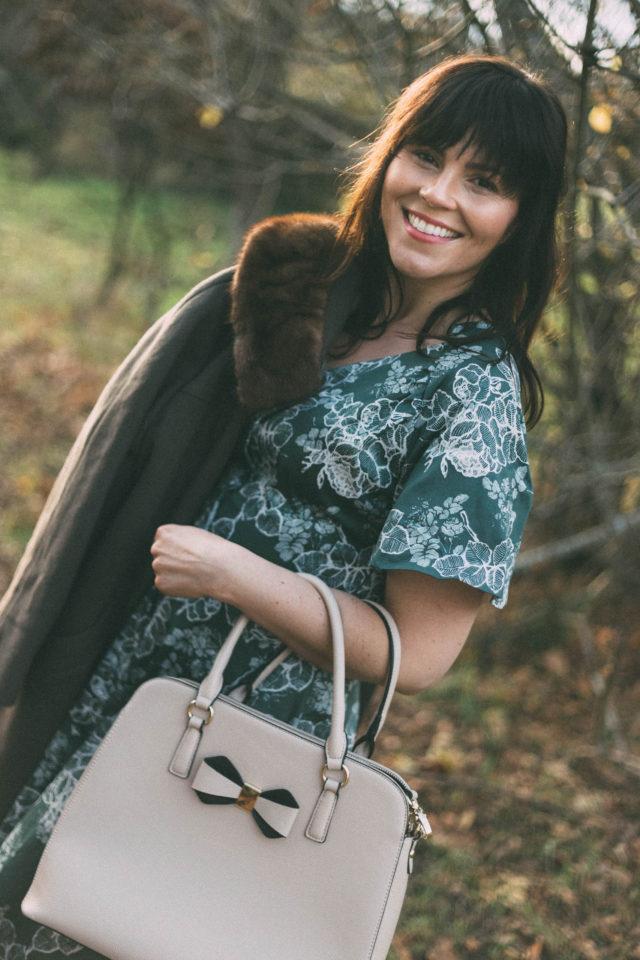 Women's Vintage Floral Print Flare Short Sleeve Cocktail Swing Midi Dress, Kio Rio, Vintage Dress, Vintage coat, fur collar