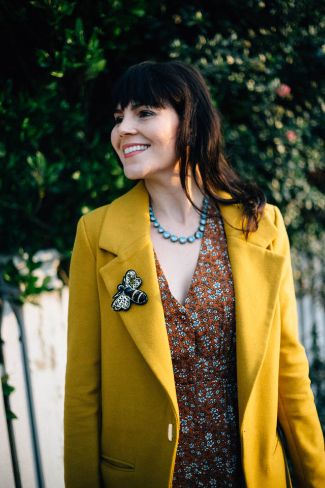 Birdie Ditsy Floral Tea Dress, Joanie Clothing, Ever New , Judy Crombie Coat, vintage fashion, vintage inspired pleated dress, vintage style, floral, yellow, brooch,