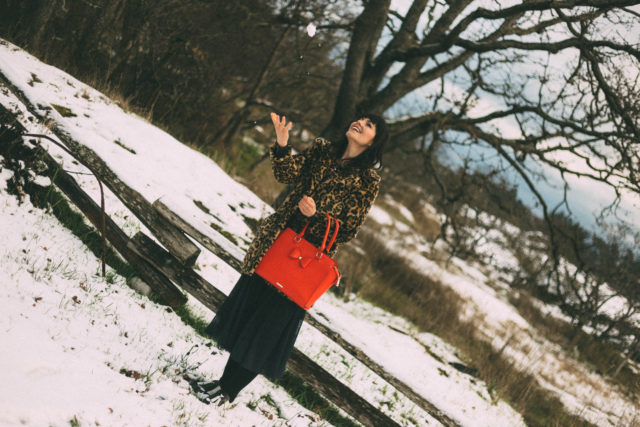 floris skirt by: TRINA TURK, H&M Beaded Flannel Blouse, Leopard Print Coat, Red Handbag, Review Australia, Asos, White Christmas, vintage, fashion, style, winter,