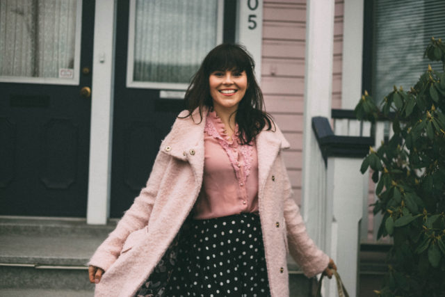 Pink coat, Pink blouse, Vintage, fashion, polka dot circle skirt, spring fashion, Victorian house, pink house, doll house,