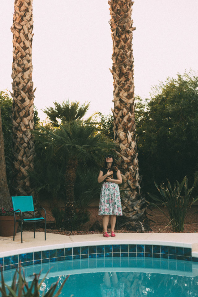 Phoenix, Arizona, vintage, pool, Ola Dubois, Chihuahua, Jerome, Arizona, Ghost Town , vintage, fashion, dress, style