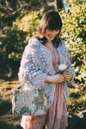 Knit Your Love Cardigan in Lavender, Pink Dress, Chic Wish, Spring Fashion, Flowers, chunky cardigan, vintage, style, dress, outfit, idea
