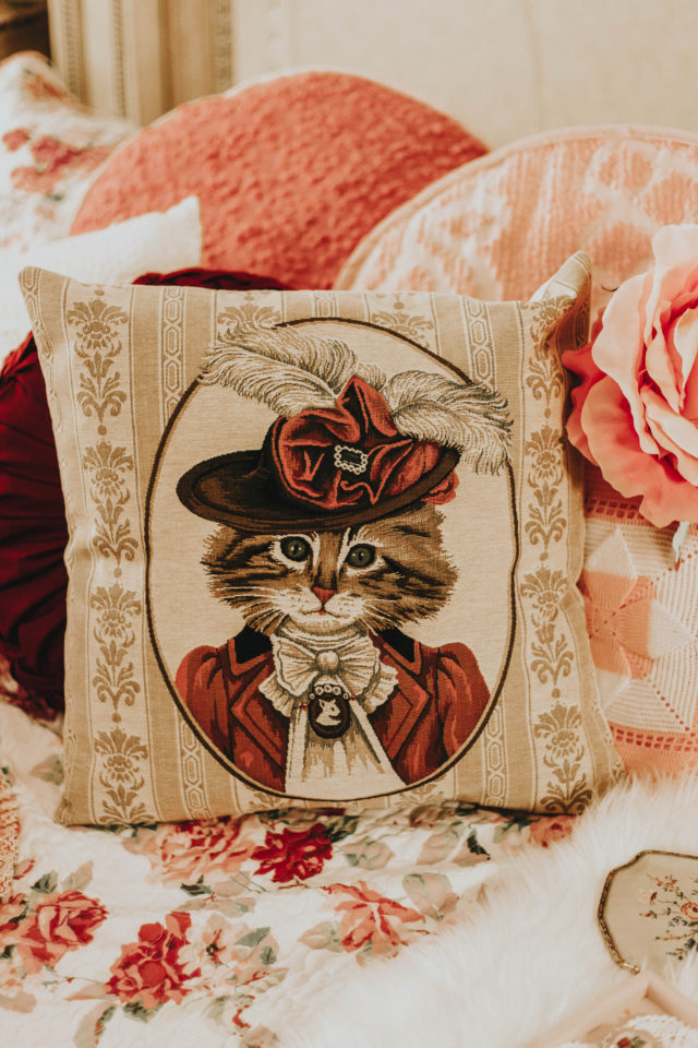 Cat portrait pillow, woven tapestry pillow case, Fun Victorian Style Dressed Cat Cushion Covers, Cat Lover Gift, Home Decor, Provence Decor, Vintage home decor haul, thrift store haul, home decor haul, shabby chic, vintage style, cat painting,