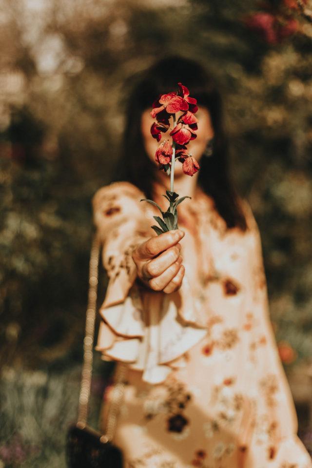 Tie Neck Elastic Waist Floral Dress, SheIn, Floral Embroidery Clutch Bag, floral dress, Yellow floral dress, spring,vintage fashion